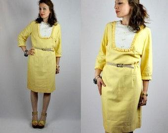 60s Yellow Dress - Secretary Dress - Bib Dress - Pencil Dress - Mod Dress - Charm Of Hollywood Stripes Bib Collar Ruffled Sleeves size S - M