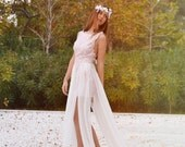Wedding Dress, Pink Lace Wedding Dress, Airy Chiffon Bridal Dress, Long Wedding Dress, Pink Lace Wedding Gown - SuzannaM Designs