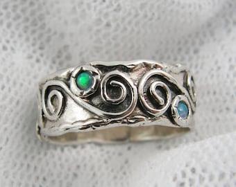 Sterling silver opal ring. Sterling silver ring. Spiral opal ring. Spiral silver ring. Wide silver ring. (sr-9577-524) Opal jewelry