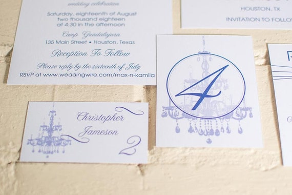 Chandelier: Part 2 Wedding Table Cards and Place Cards, Ballroom Wedding Table Numbers & Seating Cards