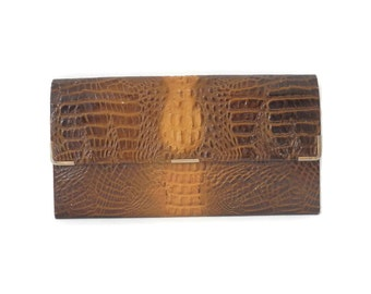 Genuine Leather Wallet by Jacob No. 2601 Crocodile Print Retro Leather Accessories Womans Wallet