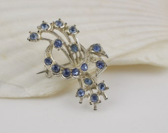 1950s Posy Style Ladies Small Brooch Silver Plated with Blue Paste Stones
