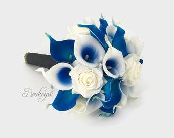 CHOOSE RIBBON COLOR - Royal Blue Calla Lily Bouquet, Royal Blue Bridal Bouquet, Calla Lily Bouquet, Real Touch Rose and Calla Lily Bouquet