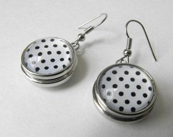 Polka Dot Drop Earrings - Glass and Metal Dangle earrings - Black and White Modern Earrings -  Interchangeable Snap Earrings by ElleBelleArt