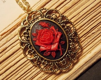 Red and Gold Rose Cameo Necklace