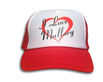 Trucker Cap - I Love Mallory Hat - Snapback Mesh Cap - I heart Mallory, Mickey and Mallory Knox,