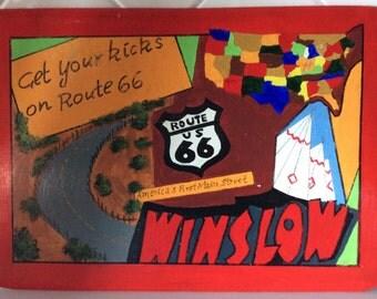 Route 66 Original Art by Patricia Sharpe - La Posada's Famous Turquoise Room Restaurant Hard Placemats