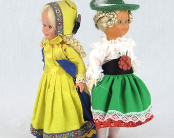 Two Traditional German Doll - Braided Blond Hair - Blue Eyes that Open and Close - Global Vintage Collectibles