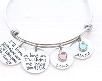 Ill love you forever Ill like you for always as long as Im living my baby you'll be, Adjustable Bangle, Charm Bangle, Gift For Mom