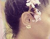 Ear jackets, stud earrings, minimal earrings, gold stud earrings, 24 K gold plated earjackets, LOVE earrings.