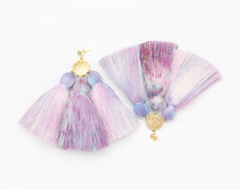 MAGIC 40 / Dyed cotton tassel & Metal statement earrings - Ready to Ship