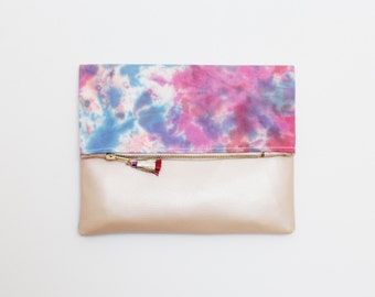 SALE! Dyed cotton clutch bag. Fold over clutch. Leather handbag. Statement purse. Hand colored. Simple daily purse. Colorful handbag./MIA 25