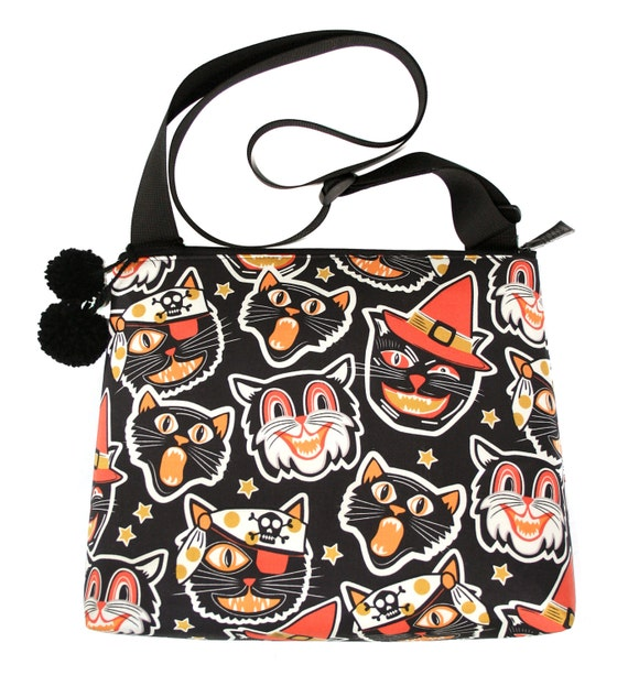 SALE! Black cats, Halloween, retro Halloween, pom poms, large, cross body bag