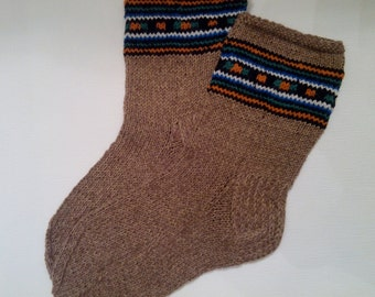 Hand Knitted Wool Socks - Colorful Wool Socks for Men -Mens Socks -Size Medium US 9- 9,5/ EU 42