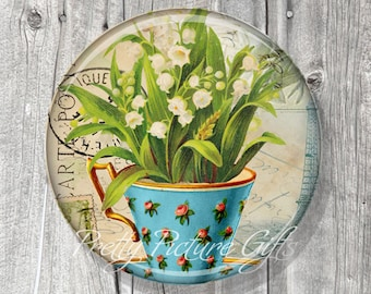 Pocket Mirror, Bridal Shower Party Favors, Unique Wedding Favors, Tea Party Favors, Compact Mirror Lily of the Valley, Gift under 5 - A153