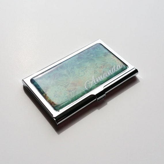 Personalized Business Card Holder Custom Blue Business Card