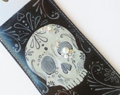 Pearly Pirate Skull - Hand-Painted Leather iPhone 6 Case - iPhone 6/6s Sleeve