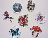 Hand Drawn Sticker Pack, Set of 7 Stickers, Nature Stickers, Bug Stickers, Mushroom Stickers, Hand Made Stickers
