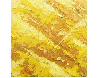 Abstract Art Print of Golden Yellow Spring, Four Seasons Art Home Decor, Giclee Print of Abstract Palette Knife Painting, Yellow Wall Art
