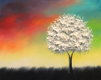 Textured White Tree Painting, Black and White Art, Colorful Original Oil Painting, Rainbow Landscape Painting, Modern Canvas Wall Art, 8x10