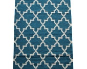 Teal Lattice Rug - Fair Trade Hand Loomed Lattice Weave 100% Wool Kilim Rug in Teal - 120cm x 75cm