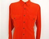 Hunter Orange Corduroy Shirt / vintage GAP hunting orange wide wale shirt / men's large