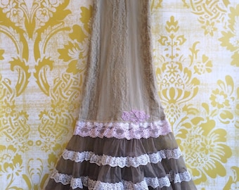 olive khaki & lilac lace ruffled boho prom dress by mermaid miss kristin