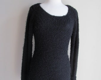 CLEARANCE  Black Sweater Dress Long Sleeve Knitted Sweater Winter Fall Warm Soft Pullover