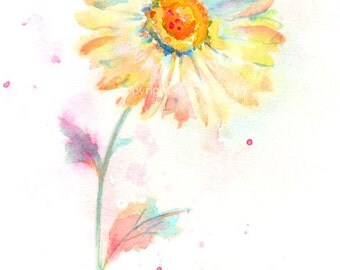 Fine art watercolor painting, flower art, MARGUERITE WATERCOLOR PRINT, giclee print, flower interest