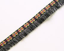 Grey wooly yarn fringe with bohemian folk ribbon ( blue yellow and orange ) - sold by the metre UK SELLER