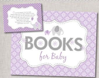 Book Request Printable Insert Cards and Sign / Purple Elephant Baby Shower Book Request Set