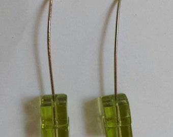 Green stacked drop earrings