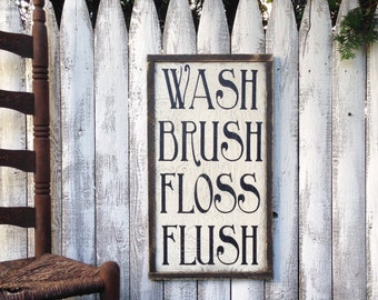 Wash Brush Floss Flush Rustic Distressed Farmhouse Style Framed Wood Bathroom Sign 13.5x24