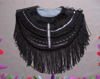 Black Ethnic Necklace with Long Fringe, Tribal Necklace, Fashion Necklace, Art to wear, Burning Man Clothing, Black Fringe Necklace, Costume