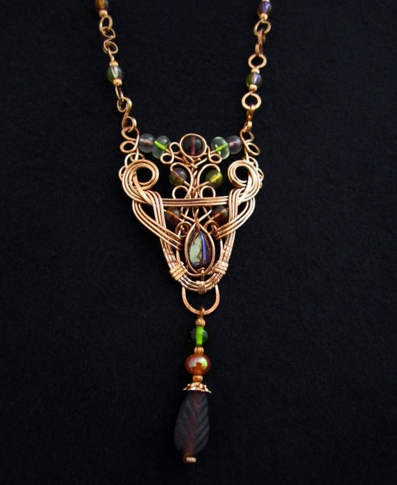 Copper and Glass Fantasy Necklace