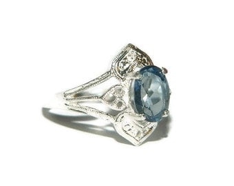Blue Topaz Ring, Low Profile Ring, Middle Finger Ring