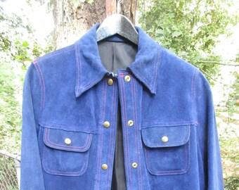 Beautiful RARE Cobalt Blue Leather/Suede Vintage Ladies Jacket Size 14 /Like New Blue Suede Jacket
