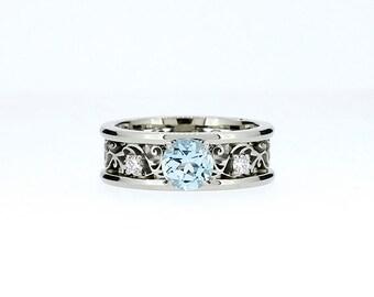 Wide Aquamarine and diamond filigree engagement ring, filigree ring, light blue, aquamarine wedding, unique, diamond ring, white gold, band