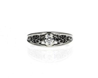 Diamond ring, white gold, filigree engagement ring, bezel, wedding ring, yellow gold, unique, diamond filigree, diamond wedding ring