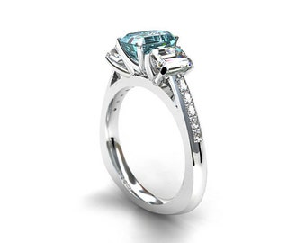 Aquamarine and white sapphire trinity engagement ring, emerald cut aquamarine, white gold engagement , unique, blue engagement, emerald cut
