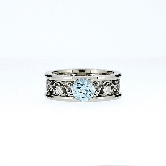 Wide Aquamarine And Diamond Filigree Engagement Ring Filigree
