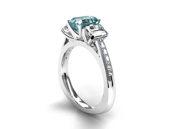 Aquamarine and white sapphire trinity engagement ring, emerald cut aquamarine, white gold engagement , unique, blue engagement, emerald cut