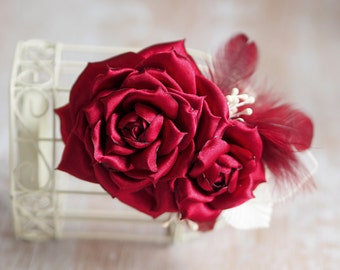 Wedding Hair Piece, Feather Fascinator, Red Hair Flower, Red Bridal Hair Accessory, Red Fascinator, Rose Hair Piece, Red Wedding Hair Clip