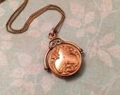 Antique Fob Locket, Edwardian Ornate Gold Filled Locket with Metalwork, Gift for Her