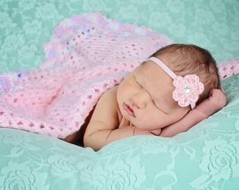 Light Pink Baby Headband Newborn Baby Girl Headband Newborn Headband Crochet Flower Headband Photo Prop Photography Prop Baby Shower Gift