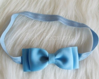 Blue Bow Headband. Baby Blue Headband. Girl Headband. Disney Headband. Baby Blue Bow Headband. Cinderella Blue Headband.
