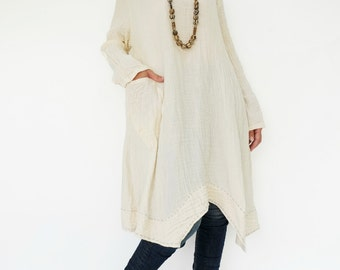 NO.201 Cream Double Cotton Gauze Long Sleeves Tunic Dress, Boat-Neck Dress, Stitch  Detail Tunic, Women's Tunic