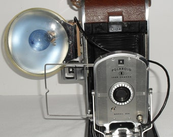 Polaroid Model 95A Land Camera with Polaroid BC Model 202 Flash & Bulb The First Film Instant Camera Line! 1950s