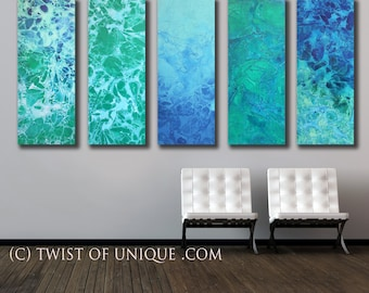Abstract Ocean Painting/ Oversized Watercolor Painting/ 41 x 75 (5 panels at 41 x 15) Green-blue, Aqua, seafoam/ Ready Now Original Painting