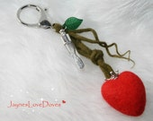 Valentine Kiss Timer bag charm by JaynesLoveDoves